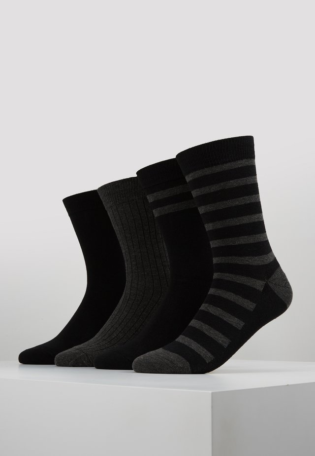 CREW SOCKS ECO DIM STYLE 4 PACK - Ponožky - black/grey