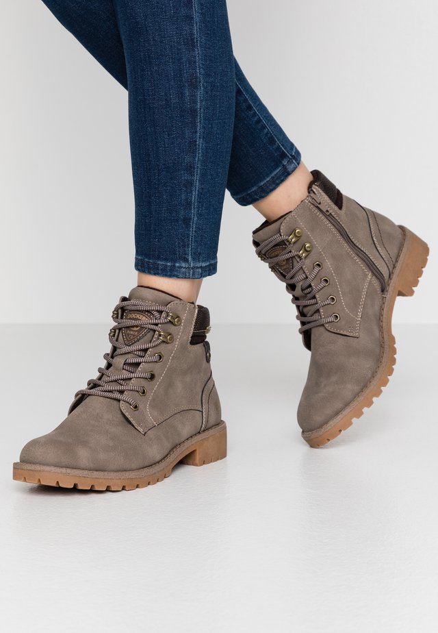 Lace-up ankle boots - taupe/braun