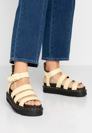 BLAIRE - Platform sandals - pastel yellow pisa/black