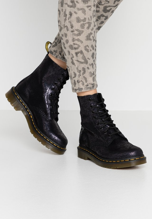 1460 PASCAL - Lace-up ankle boots - black iridescent crackle
