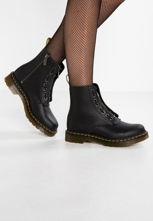 1460 PASCAL FRNT ZIP 8 EYE BOOT - Lace-up ankle boots - black