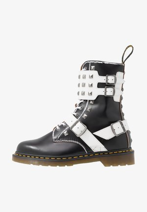 1490 JOSKA STUD - Lace-up boots - black milled/vintage smooth/white smooth