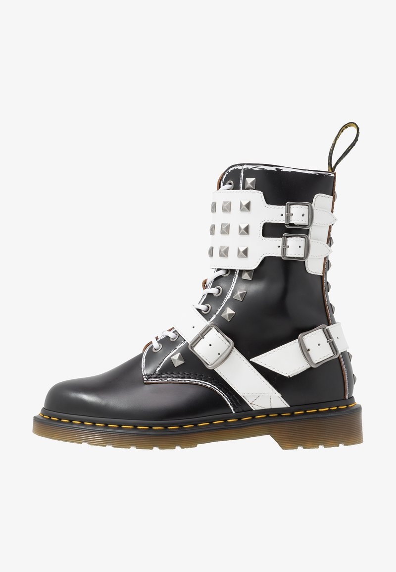 Dr. Martens - 1490 JOSKA STUD - Lace-up boots - black milled/vintage smooth/white smooth