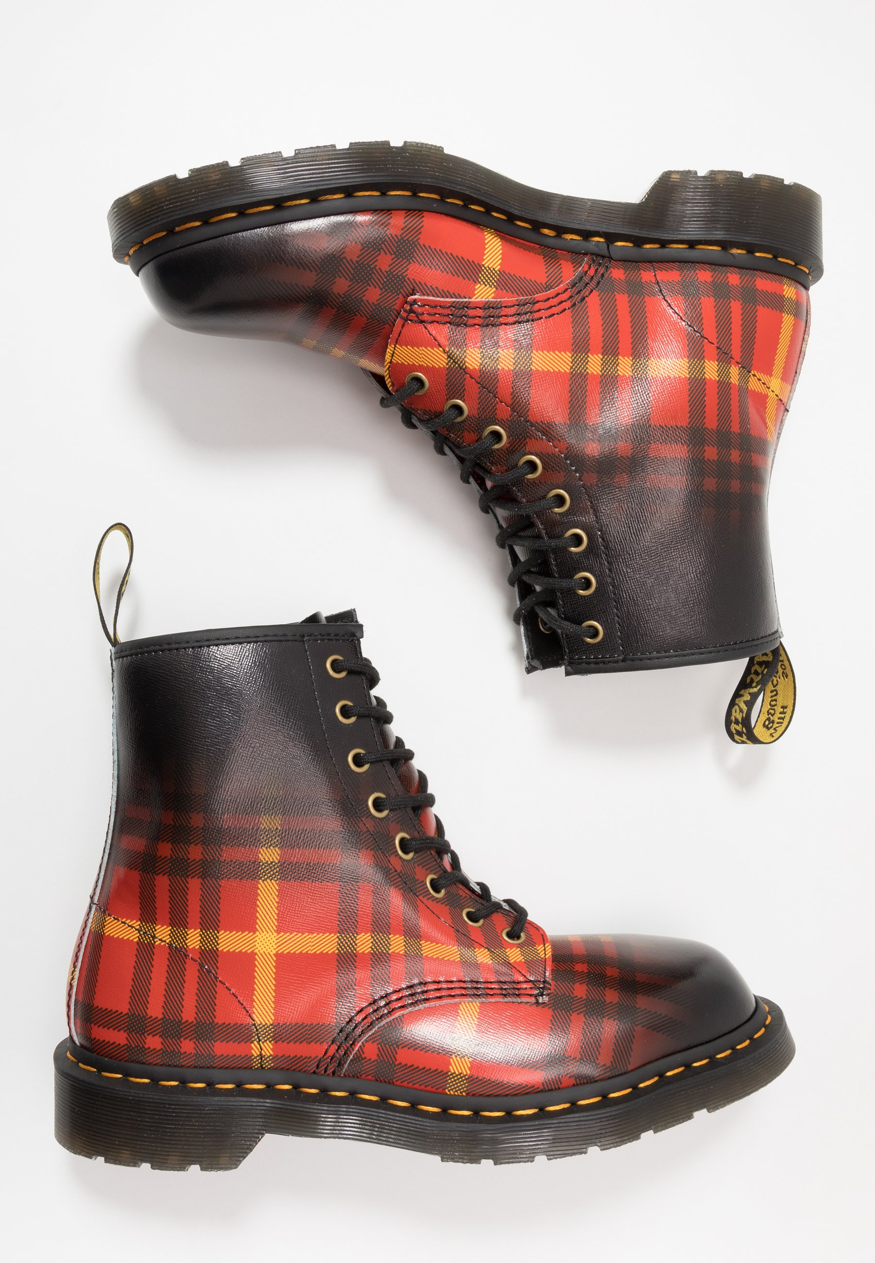 Dr. Martens 1460 TARTAN - Lace-up ankle boots - backhand straw grain