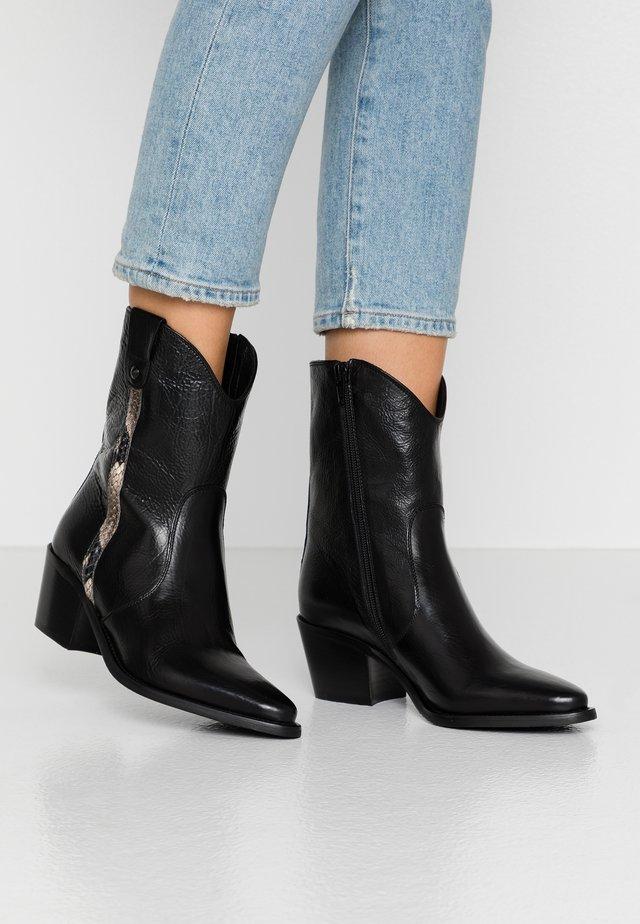 Cowboy/biker ankle boot - texas nero