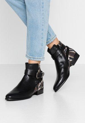 Cowboy/biker ankle boot - texas nero/diamante marone