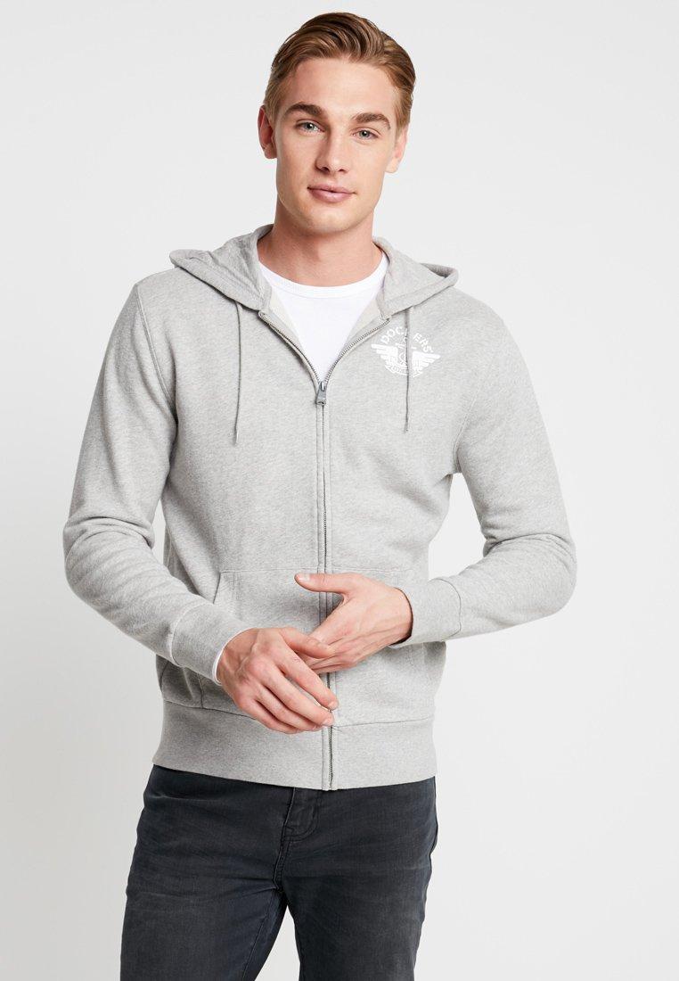 DOCKERS - HOODIE - Zip-up hoodie - grey heather/white