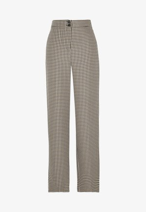 CHECK WIDE LEG - Pantalon classique - camel