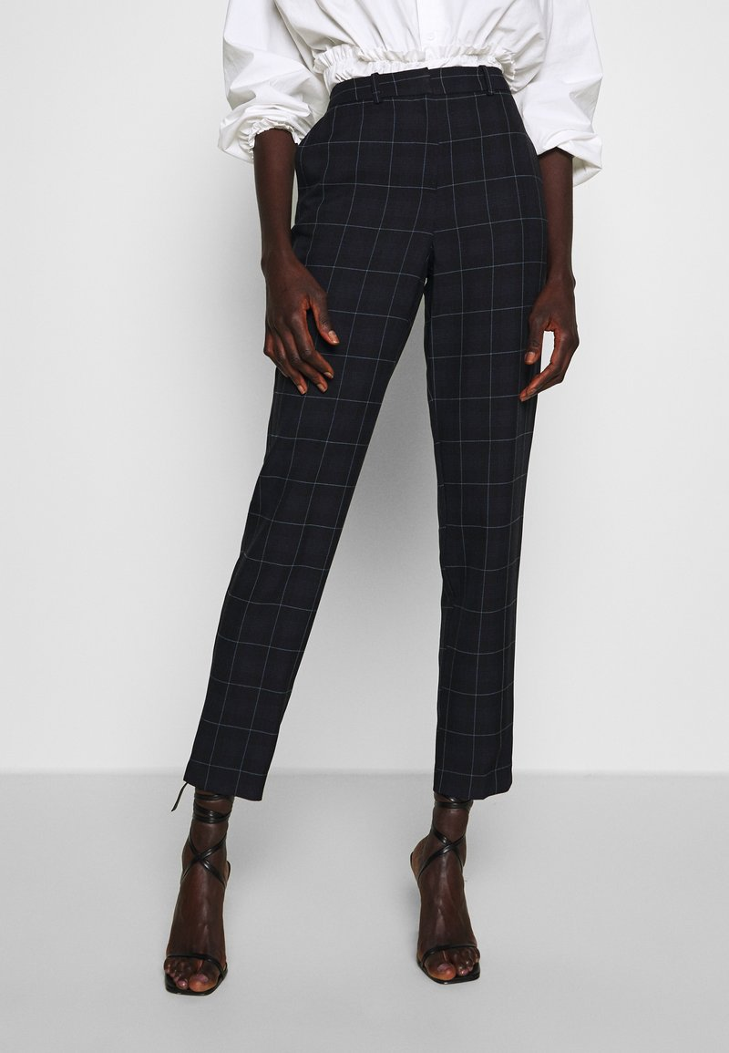 Dorothy Perkins Tall - GRID CHECK ANKLE GRAZER - Bukse - navy