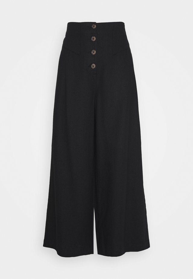TALL BUTTON  - Trousers - black