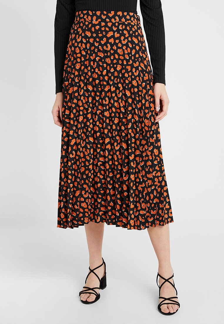 Dorothy Perkins Tall - CHEETAH PLEATED SKIRT - Pleated skirt - black