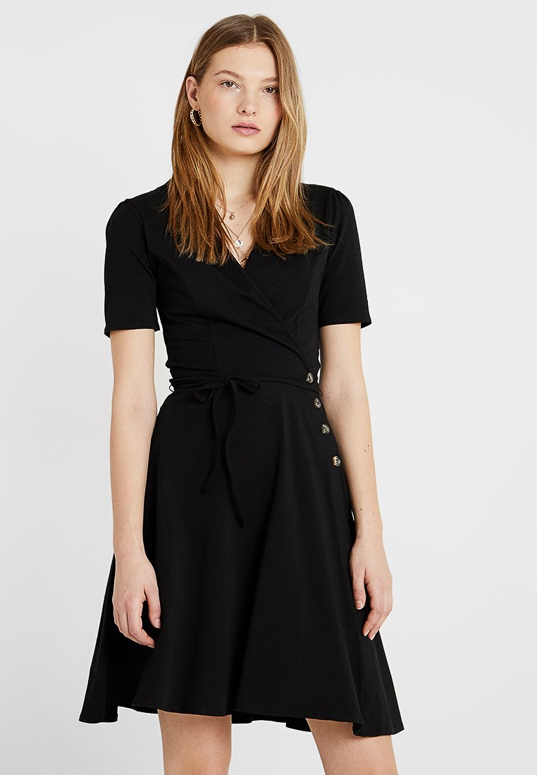 Dorothy Perkins Tall - PLAIN BUTTON WRAP - Jerseykjoler - black