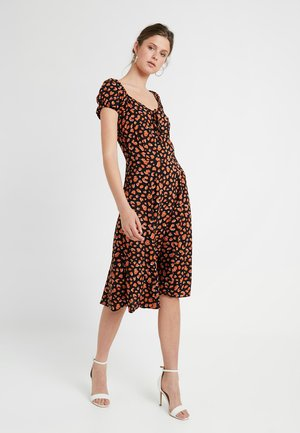 CHEETAH PRINT MILKMAID DRESS - Day dress - black