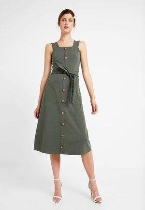 BUTTON THROUGH STRAPPY MIDI - Blousejurk - khaki