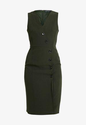 V NECK BUTTON DRESS - Shift dress - olive
