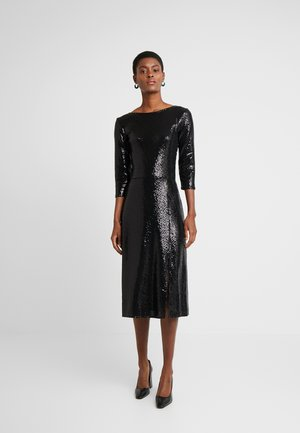 BLACK ON BLACK SEQUIN MIDI - Cocktailkjole - black