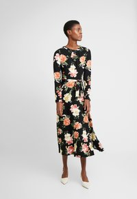 Dorothy Perkins Tall - FLORAL KEYHOLE DRESS - Maxikjole - black - 0