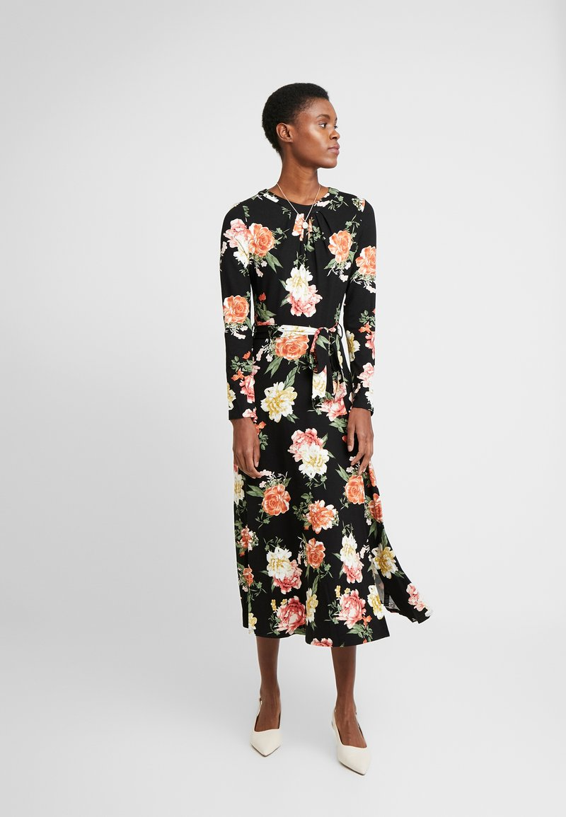 Dorothy Perkins Tall - FLORAL KEYHOLE DRESS - Maxikjole - black