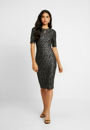 FRIDAY SMUDGE FOIL SPLIT NECK BODYCON - Robe fourreau - black