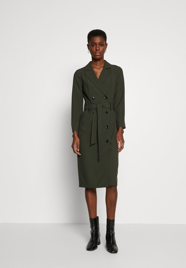 LONG SLEEVE TRENCH DRESS - Day dress - khaki