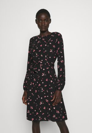 FLORAL SCOOP BACK PEPLUM FIT AND FLARE DRESS - Hverdagskjoler - black
