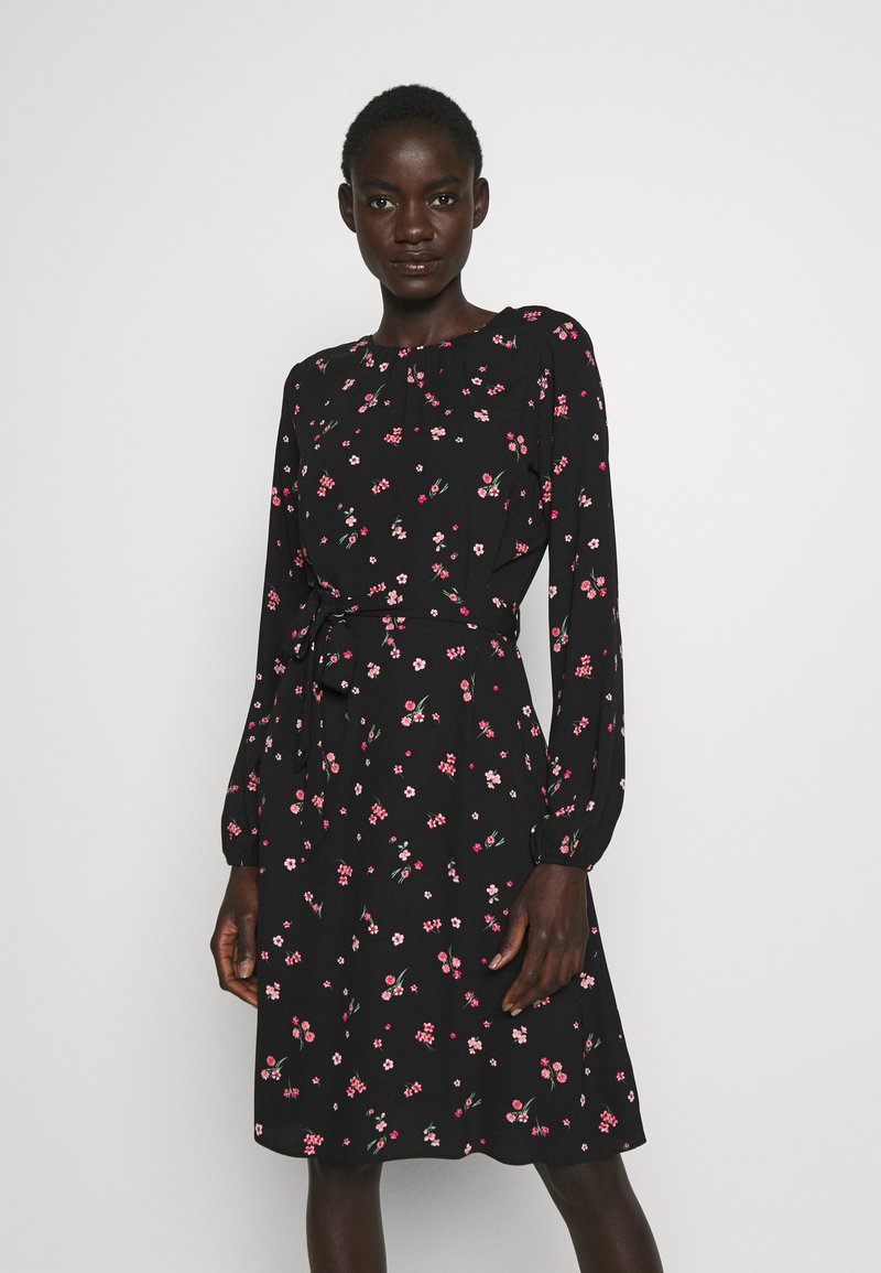 Dorothy Perkins Tall - FLORAL SCOOP BACK PEPLUM FIT AND FLARE DRESS - Kjole - black