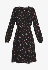 Dorothy Perkins Tall - FLORAL SCOOP BACK PEPLUM FIT AND FLARE DRESS - Kjole - black - 4