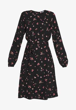 FLORAL SCOOP BACK PEPLUM FIT AND FLARE DRESS - Kjole - black