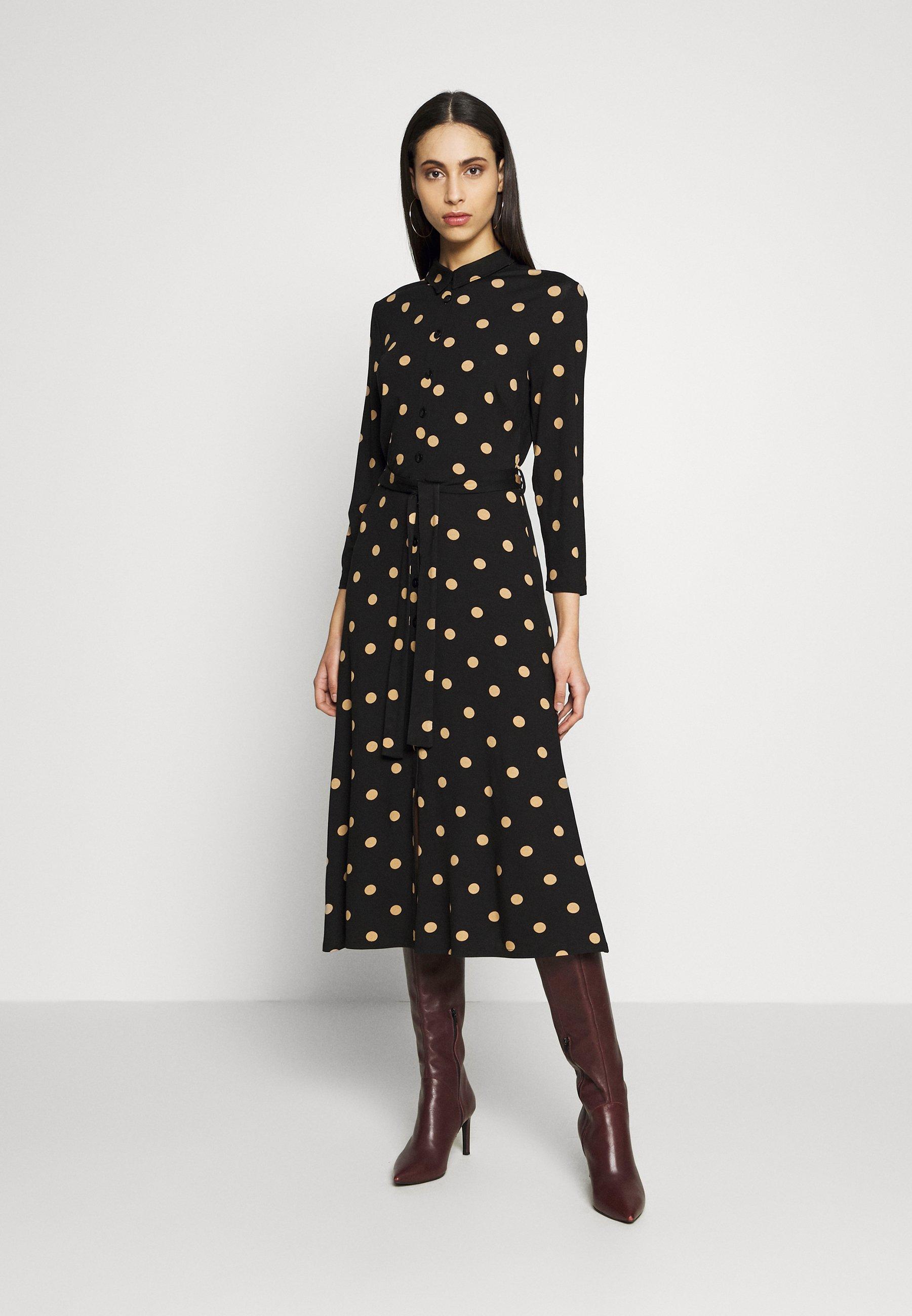Dorothy Perkins Tall TALL CAMEL SPOT DRESS - Sukienka koszulowa - black