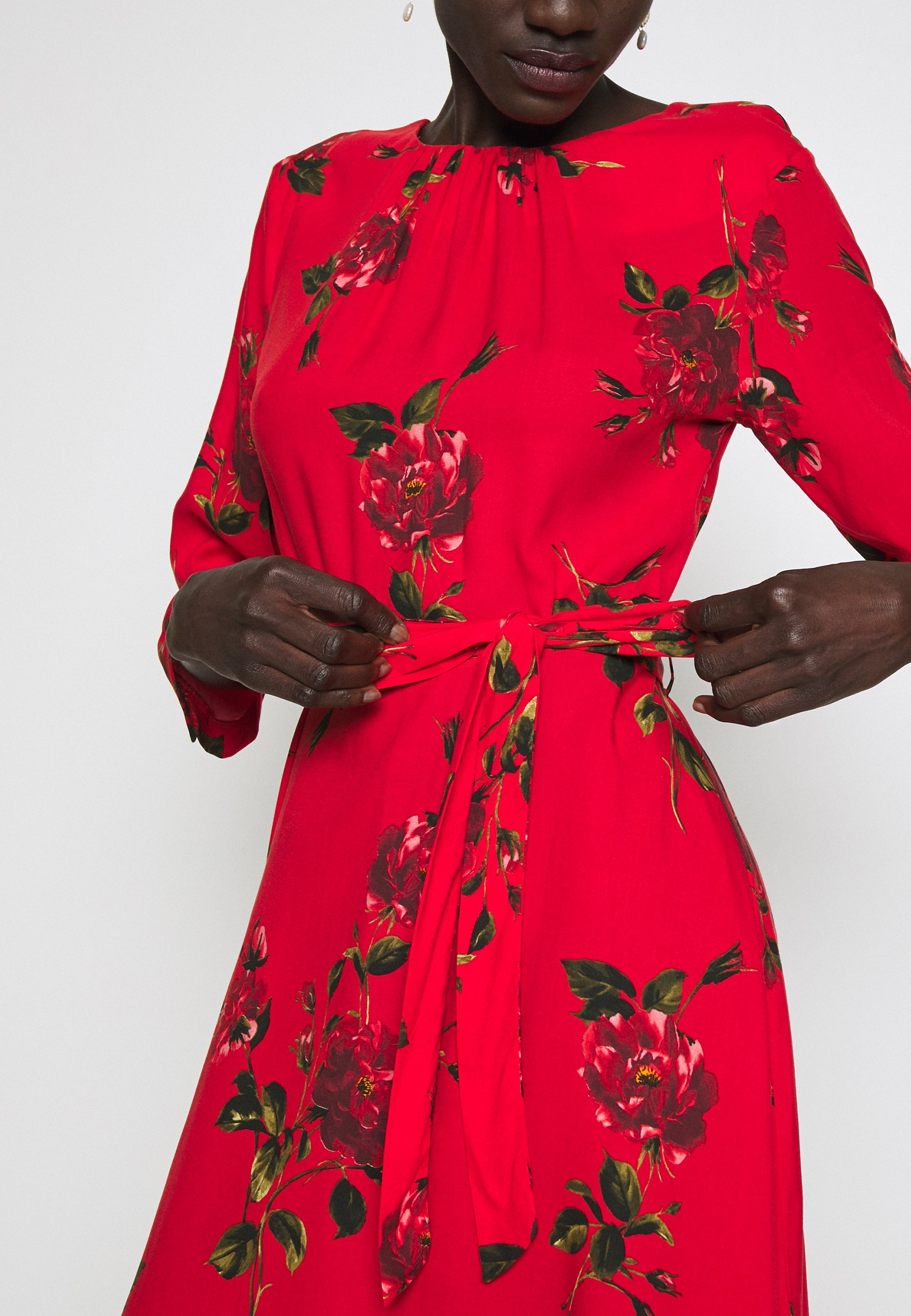 Dorothy Perkins Tall FLORAL PRINT FIT AND FLARE DRESS - Sukienka letnia - red