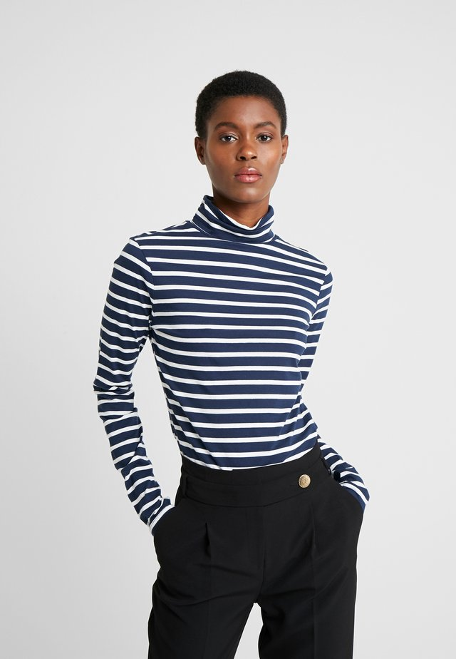 HIGH NECK STRIPE - Long sleeved top - navy