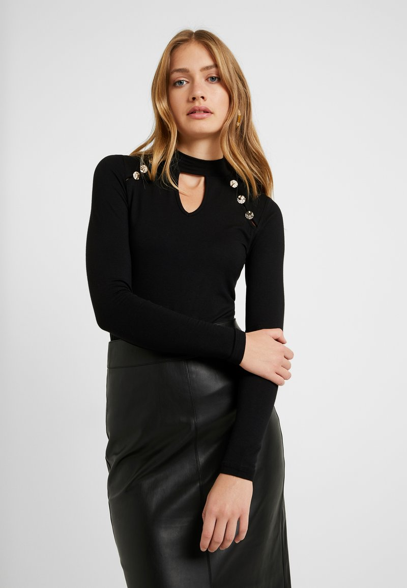 Dorothy Perkins Tall - BUTTON CUT OUT LONG SLEEVE - Langærmede T-shirts - black