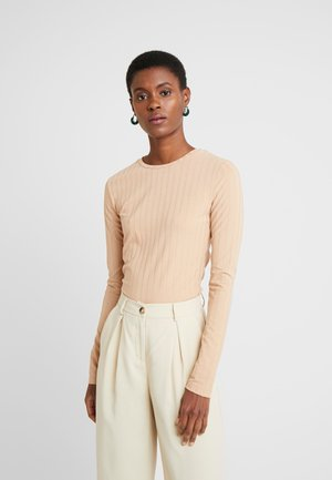 RIB BUTTON SIDE LONG SLEEVE  - Long sleeved top - beige