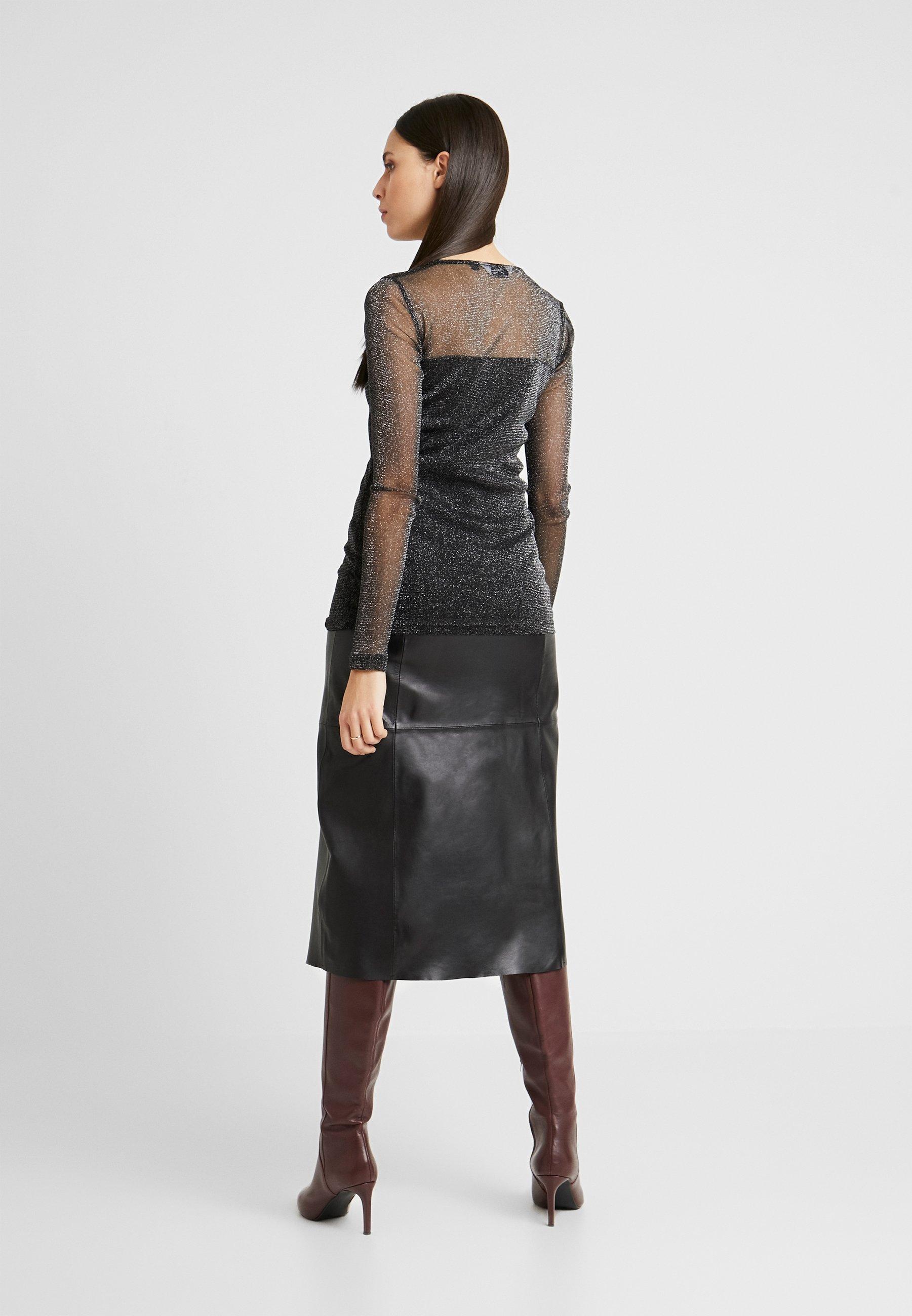 Dorothy Perkins Tall GLITTER SWEETHEART NECK - Topper langermet - black