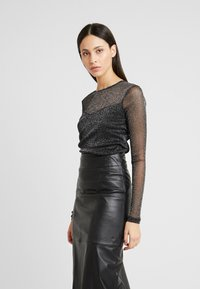 Dorothy Perkins Tall - GLITTER SWEETHEART NECK - T-shirt à manches longues - black - 0