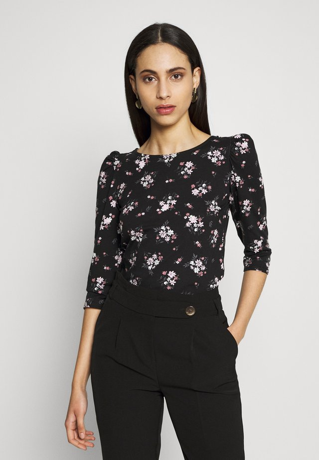 TALL PRINTED FLORAL PUFF SLEEVE - Topper langermet - black