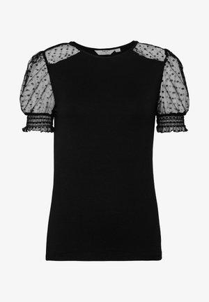 TALL DOBBY PUFF SLEEVE - Camiseta estampada - black