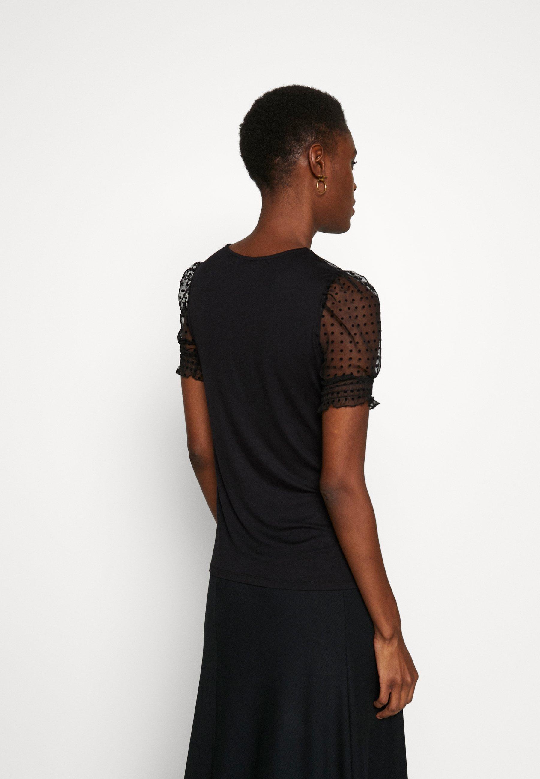 Dorothy Perkins Tall TALL DOBBY PUFF SLEEVE - T-shirts med print - black