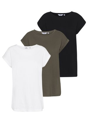 TALL ROLL SLEEVE TEE 3 PACK - T-shirt basique - black/white/khaki