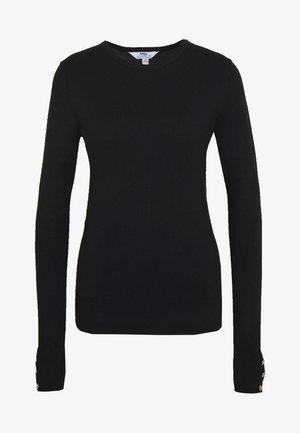 BUTTON CUFF JUMPER - Stickad tröja - black