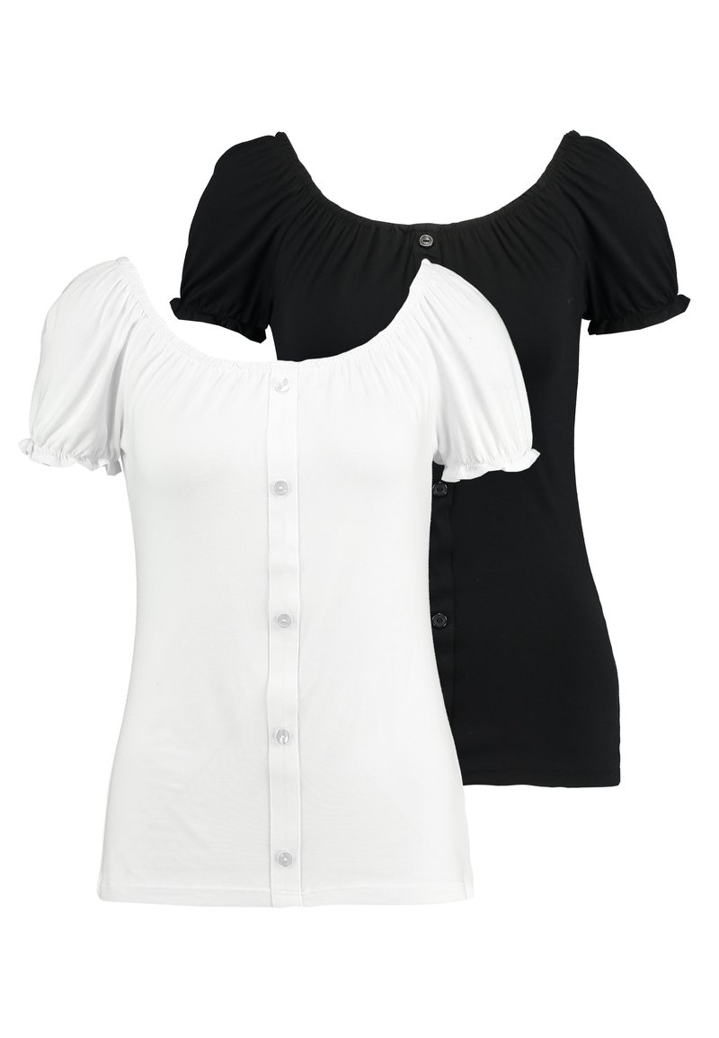 Dorothy Perkins Tall - MILKMAID 2 PACK - T-shirts med print - black/ivory