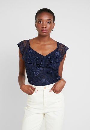 CROSSOVER FRILL - Blouse - navy
