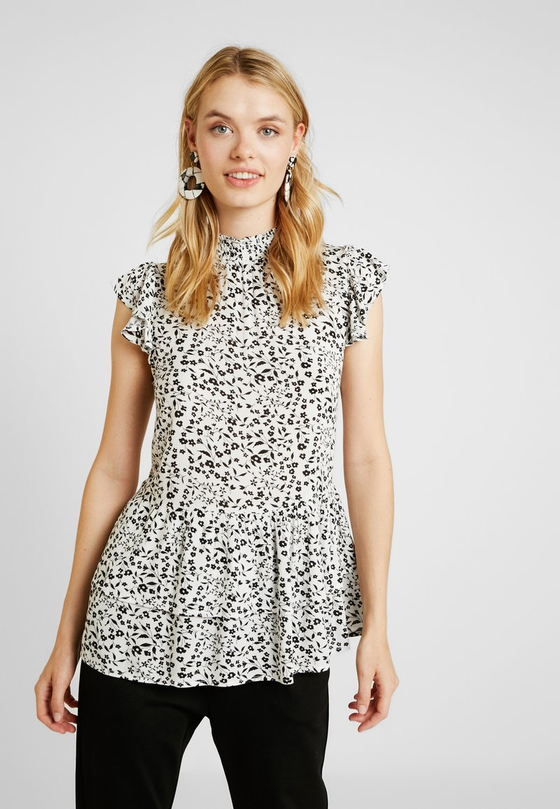 Dorothy Perkins Tall - SHORT SLEEVE TIERED DITSY - Bluse - ivory