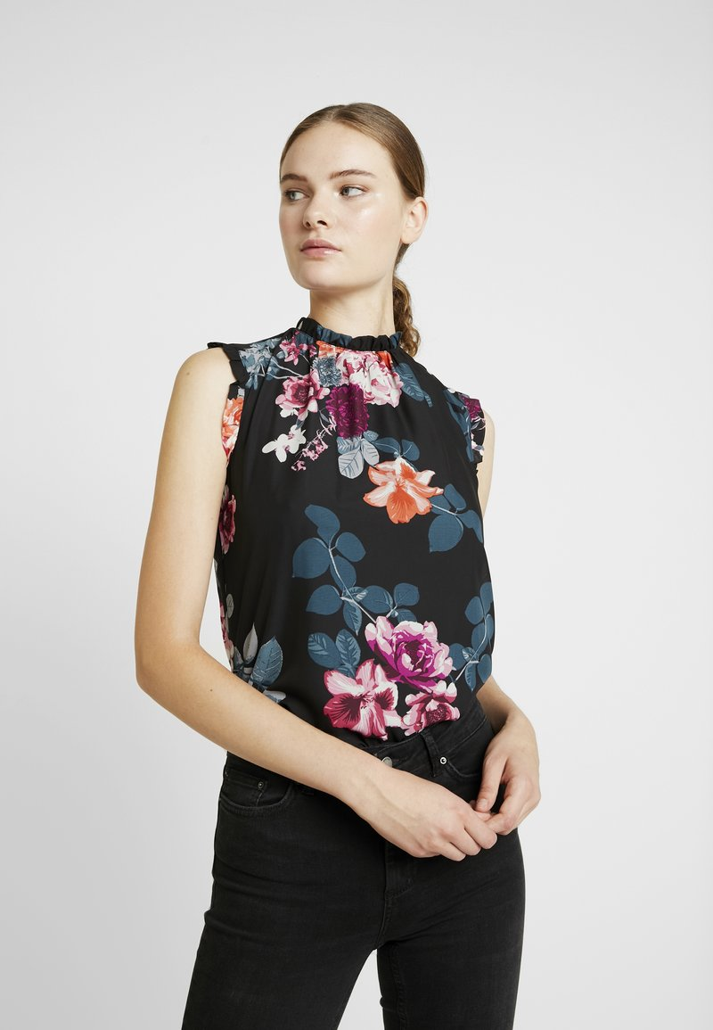 Dorothy Perkins Tall - BILIE BLOSSON BLOOM FLORAL RUFFLE SHELL - Bluse - black
