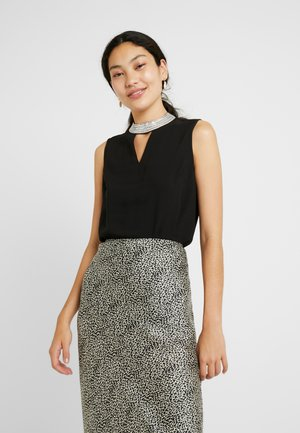 EMBELLISHED NECK SLEEVELESS - Bluser - black