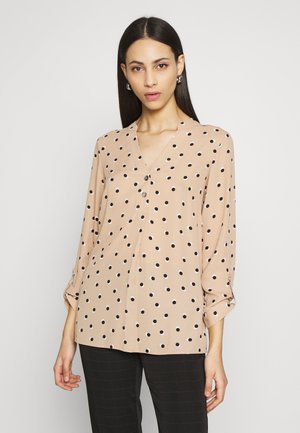 SPOT DOUBLE BUTTON COLLARLESS ROLL SLEEVE - Blouse - camel