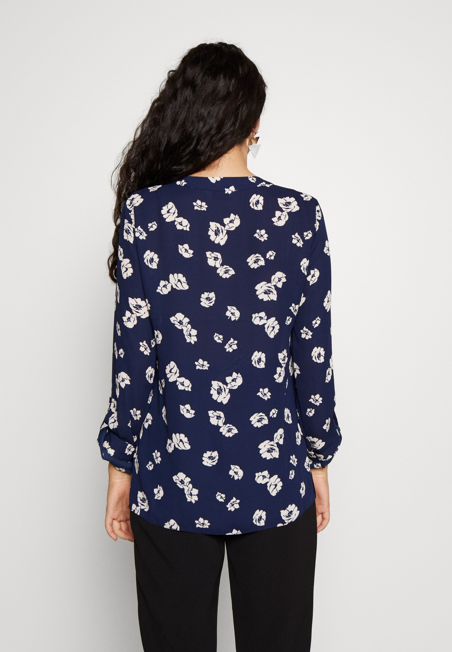 Dorothy Perkins Tall FLORAL DOUBLE BUTTON COLLARLESS ROLL SLEEVE - Bluser - navy