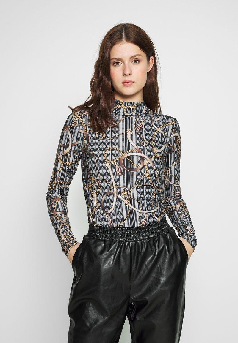 Dorothy Perkins Tall - TWIST NECK BELT TOP - Maglietta a manica lunga - black