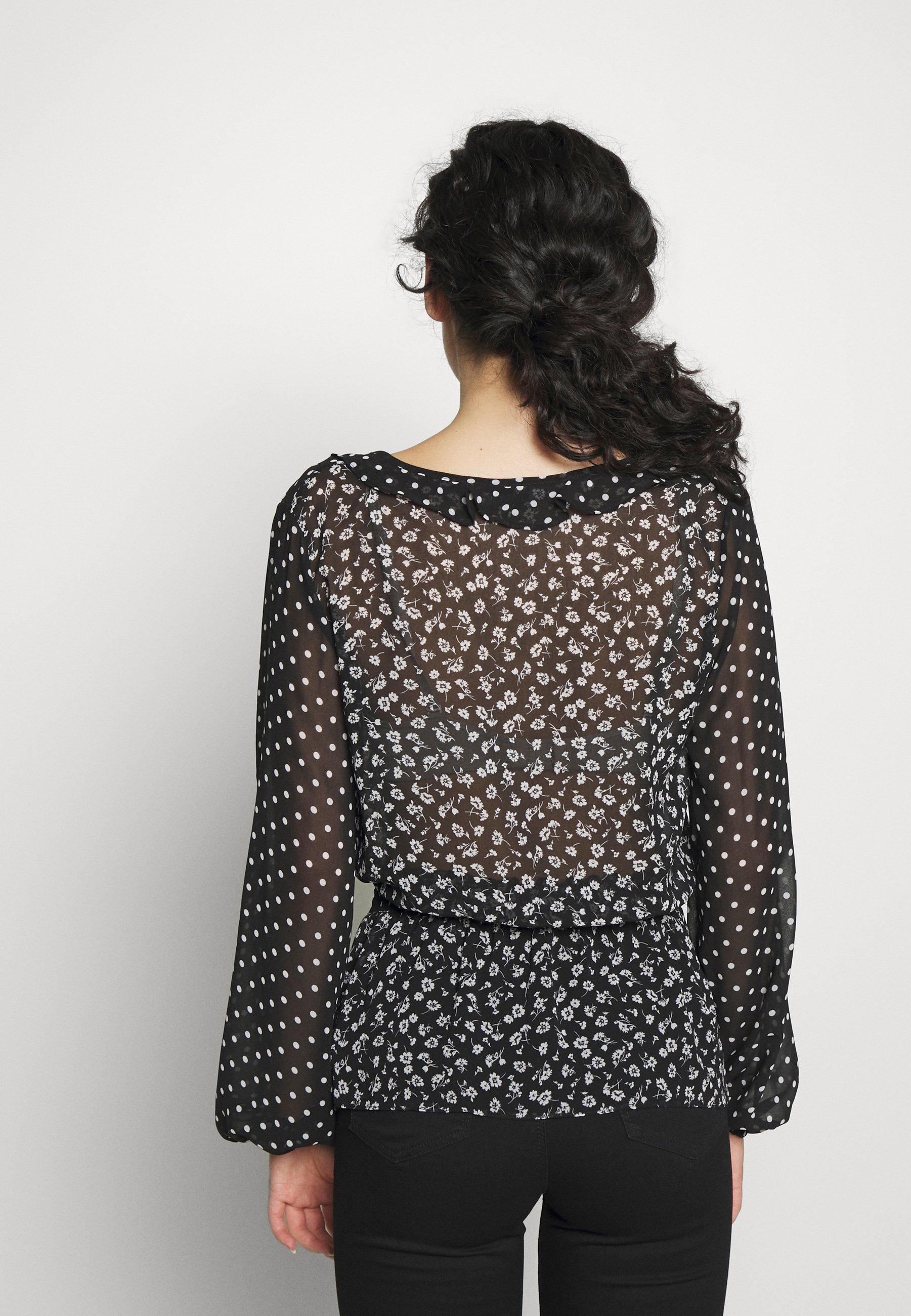 Dorothy Perkins Tall SPOT RUFFLE DETAIL  - Bluser - black/cream