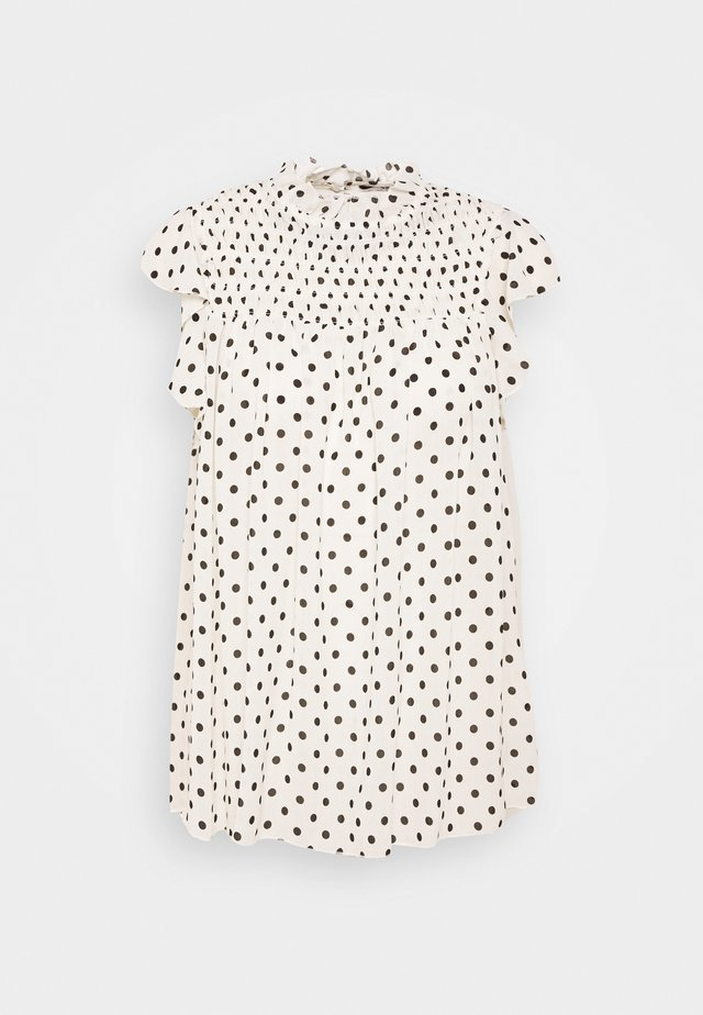 SPOT PRINT SHIRRED NECK - Camicetta - white